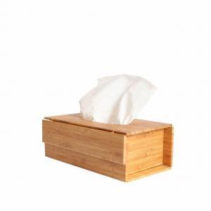 China Bamboo Foldable Tissue Box DIY Wooden Napkin Box on sale