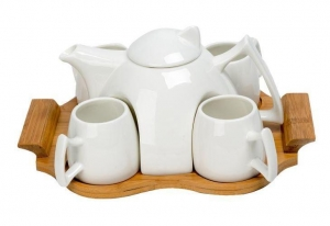 China Ceramic Drink Set With Bamboo Tray on sale