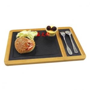 China Bamboo And Slate Serving Tray/ Slate Serving Board on sale