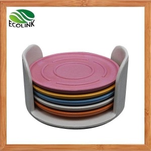 China Color Bamboo Fiber Drink Coasters - Set Of 6 With Holder on sale