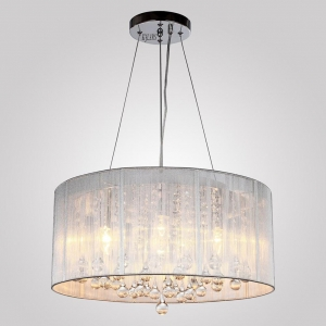 China KJLARS Modern Crystal Pendant Light in Cylinder Shade, Drum Style Home Ceiling Light Fixture Flush M on sale