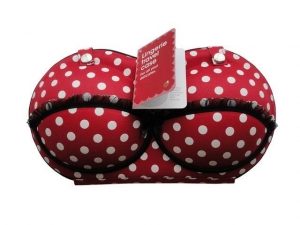 China BC0131 Target Branded bra travel case discount price in hot red with polka dots with hangtag on sale