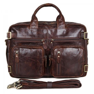 China 7026Q Chocolate Genuine Vintage Leather Men's Briefcase Backpack on sale