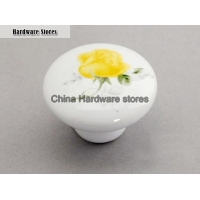 China 10Pcs Cheap Child Room Ceramic Yellow Rose Porcelain Cabinet Pull Handle And Knobs(Diameter:38mm) on sale