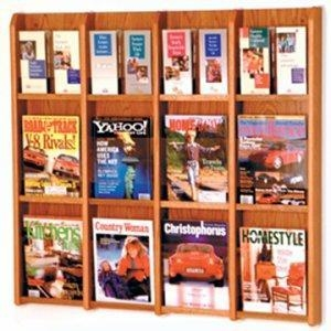 China 12 Magazine/24 Brochure Wall Display with Brochure Inserts -Medium Oak on sale