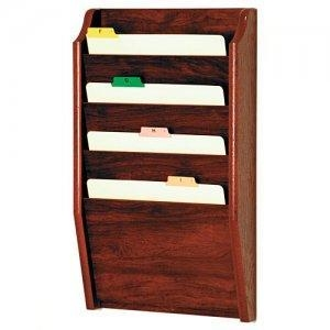 China Chart and File Holder, Tapered Bottom Wall Mounted, 4 Pocket, Letter Size, Oak Wood Finish on sale