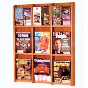 China 9 Magazine/18 Brochure Wall Display with Brochure Inserts - Medium Oak on sale