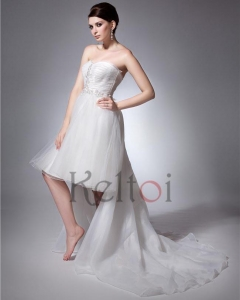 China Ball Gown Sweetheart Front Short and Long Back Train Tulle Wedding Dress(D2051) on sale