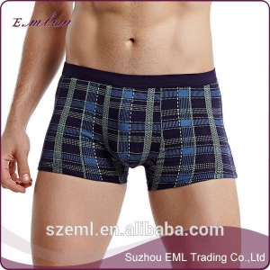 China Products  Sexy breathable modal seamless grid printed men's underwear on sale