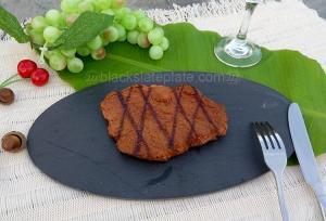 China Oval shape black slate plate for steak JJSP-003 on sale