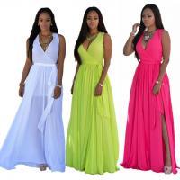 China Maxi Dress Chiffon Deep V Womens Sexy Dresses Party Night Clubwear on sale