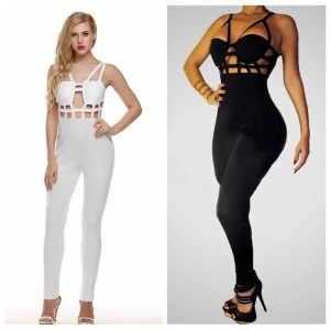 China Black/White Sexy Hollow Brace Jumpsuits on sale