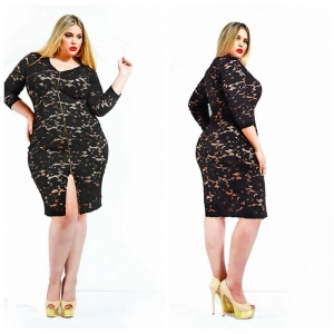 China Black Plus size lace dresses half sleeve zipper women big clothing on sale