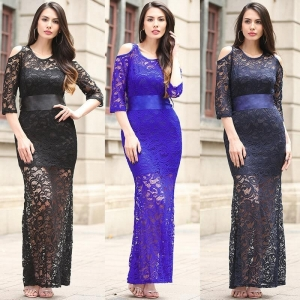 China Plus Size Half-Sleeve Lace Evening Dresses on sale