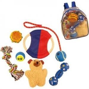 China Red & Blue Backpack Dog Toy Gift Set on sale