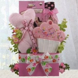 China Party Girl Dog Gift Basket on sale