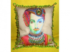 China Fiber Art & Weaving Sardar -- Indian Maharajah Beaded Portrait Pillow by Jayne Somogy on sale