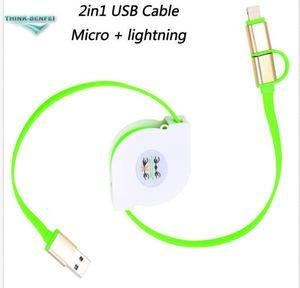 China Usb Cable Retractable 2in1 Micro USB+lightning Data Charger Cable For iPhone Samsung HTC on sale
