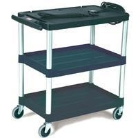 China Cart-Media Audio-Visual Cart, Open Cart with 3 Shelves-Black[9T28BLA] on sale