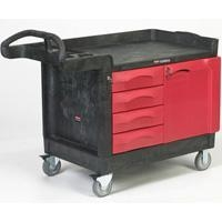 China Cart-TradeMaster Cart with 4-Drawer and Cabinet-Black[4533-88BLA] on sale