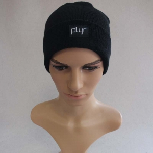 China Simple Black Men's Winter Custom Knitted Beanie Hats on sale