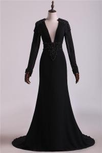 China Long Sleeve V Neck Mermaid Evening Dresses JYEWLY25 on sale