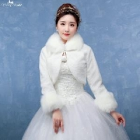 China LZP124 Lace Up Women Elegant Bolero Long Sleeve Winter Wedding Coats For Brides on sale