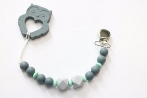 China Getting Sew Crafty - Silicone Pacifier + Toy Clip - Gray Owl on sale