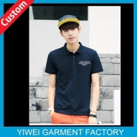 Business Navy Blue Short Sleeve 100 Cotton Polo Shirts For Men With Embroidery Logo On Chest