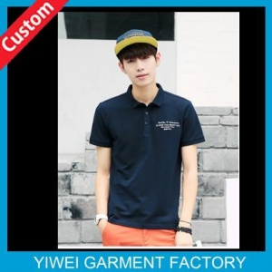 China Business Navy Blue Short Sleeve 100 Cotton Polo Shirts For Men With Embroidery Logo On Chest on sale