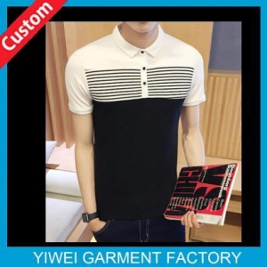 China Simple White and black 95% cotton 5% Spandex Slim Fit Polo Shirts For Men on sale