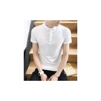 Cotton spandex White Short Sleeve Half Sleeve Polo Shirt For Men