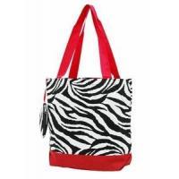 Zebra Print Monogrammed Tote Bag - Red