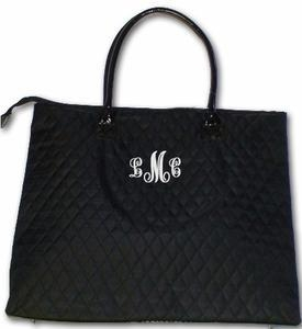 China Monogrammed Quilted Overnight Tote Bag on sale