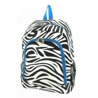 Monogrammed Backpack - Zebra Print With Turquoise Trim
