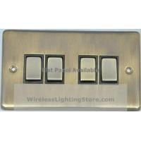 China Flat Antique Bronze 4 Gang 1 or 2 Way Rocker Light Switch G&H FAB304 on sale