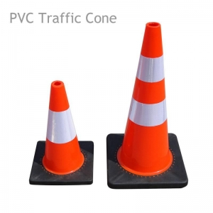 China Flexible PVC Traffic Cone with Rubber Base on sale