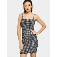 Dresses Back Zip Checked Bodycon Mini Dress - Checked S