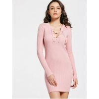 Dresses Fitted Lace Up Jumper Dress - Pink