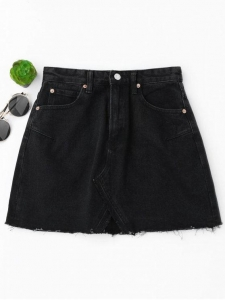 China Women High Waisted Cutoffs Mini Denim Skirt - Black S on sale