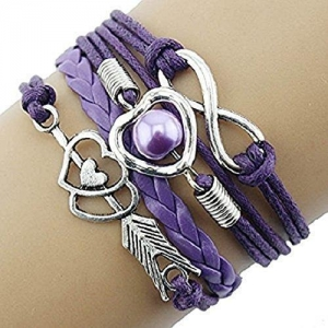 China Doinshop Infinity Love Heart Pearl Friendship Antique Leather Charm Bracelet-Bracelets on sale