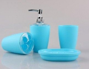 China JustNile 4-Piece Bathroom Accessory Set - Trendy Plastic Blue-Bathroom Accessory Sets on sale