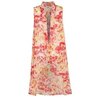 China Ililily Women's Sleeveless Printed Chiffon Suit Vest Drape Long Waistcoat-Vests on sale