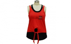China Two Pieces Women'S Activewear Sets, Ladies Workout Clothes Red And Black Color on sale