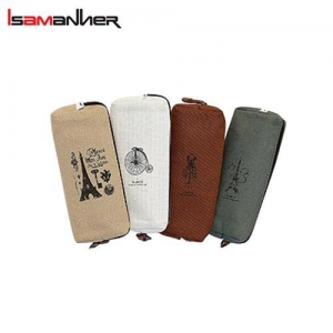 China Hot Vintage Canvas Student Pen Pencil Pouch Bag on sale