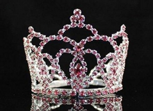 China Janefashions Mini Heart Pink Austrian Rhinestone Crystal Full Hair Crown Tiara Bridal M289p on sale