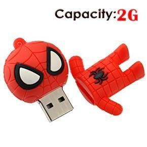 China 2G Small Cartoon Spider-Man Shape Rubber USB Flash Drive (Red) Model: # 5468 on sale