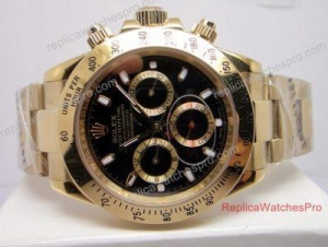 China Knockoff Rolex Cosmograph Daytona Watch All Yellow Gold Black Face for Men on sale