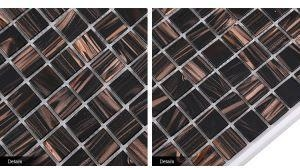 China Gold Line Deep Brown Wall Tiles Hot-Melting Glass Mosaic on sale
