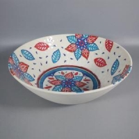 Floral Handpainted Sand Finish Hammer Melamine Mixing Soup Bowls